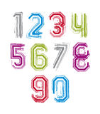 Hand drawn stroked numerals, collection of unusual watercolor nu Stock Photos