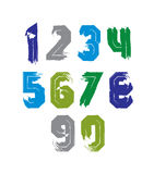 Hand drawn stroked numerals, collection of unusual watercolor nu Stock Photography