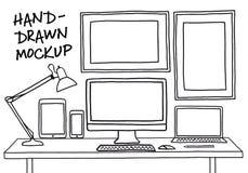 Hand-drawn studio mockup with computer, vector. Hand-drawn studio mockup with computer, devices, picture frames, vector illustration