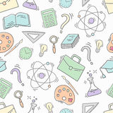 Hand Drawn Study seamless pattern with school accessories Stock Image