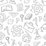 Hand Drawn Study seamless pattern with school accessories Royalty Free Stock Images