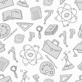 Hand Drawn Study seamless pattern with school accessories Royalty Free Stock Photography