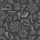 Hand Drawn Study seamless pattern with school accessories Stock Photo