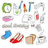 Hand-drawn stuff in the morning royalty free stock photography