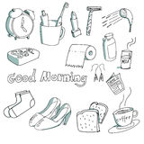 Hand-drawn stuff in the morning Stock Images