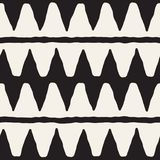 Hand drawn abstract seamless pattern in black and white. Retro grunge freehand jagged lines texture. Hand drawn style abstract seamless pattern in black and stock illustration