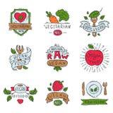 Hand drawn style of bio organic eco healthy food label vegan vegetable vector illustration vegetarian natural farm sign. Royalty Free Stock Photos