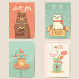 Hand drawn style cards - Valentine's Day Stock Photography