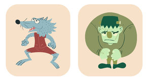 Hand drawn style cartoon of werewolf and frankenstein. Colorful hand drawn cute werewolf and frankenstein Stock Photo