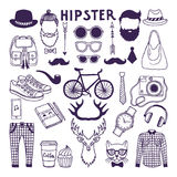 Hand drawn style doodle set of hipster elements. Vector illustrations set. Of hipster vintage hat and shirt, sneakers and backpack, beard and hair Stock Image