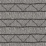 Hand drawn style ethnic seamless pattern. Abstract geometric tiling background in black and white. Royalty Free Stock Photography