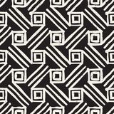Hand drawn style ethnic seamless pattern. Abstract grungy geometric shapes background. In black and white royalty free illustration
