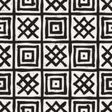 Hand drawn style ethnic seamless pattern. Abstract grungy geometric shapes background. In black and white vector illustration