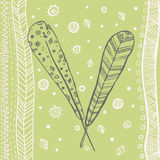 Hand drawn style feather frame pastel vector Royalty Free Stock Photos