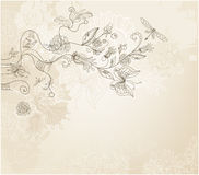 Free Hand Drawn Style Floral Background Royalty Free Stock Image - 16977126