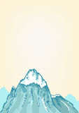Hand drawn style of a Freezing Mountain top. Peak of a Mountain in Hand Sketch style with empty space for copy royalty free illustration