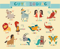 . Hand-drawn style, funny. Cute zodiac signs icon. Hand-drawn style, funny animal. 12 characters in one set royalty free illustration