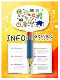 Hand drawn style infographic with pencil and book elements Royalty Free Stock Photos