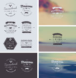 6 Hand Drawn Style Logos. Trendy Retro Vintage Royalty Free Stock Images