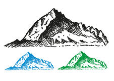 Hand drawn style Mountain Range vector. Editable Clip Art   on white background Royalty Free Stock Photo