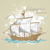 Hand drawn style sailboat infographic elements Royalty Free Stock Photo