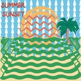 Hand drawn style of summer sunset with abstract background stock illustration