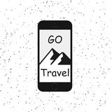 Hand drawn style typography poster with phone, mountains and quote - go travel. Vintage hipster vector illustration. Hand drawn style typography poster with royalty free illustration