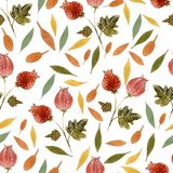 Hand drawn style watercolor flower bur with leaf. Hand drawn style art watercolor flower bur with leaf nature seamless pattern Stock Photography