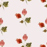 Hand drawn style watercolor flower bur nature. Hand drawn style flower bur nature seamless pattern Royalty Free Stock Images