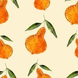 Hand drawn style watercolor seamless pattern pear. Vector Stock Images