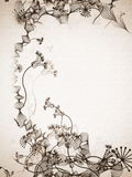 Hand drawn stylish floral on old sepia paper Royalty Free Stock Photography