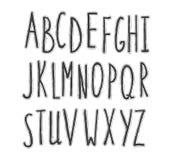 Hand-drawn stylish font. stock illustration