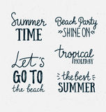 Hand drawn stylish summer typography lettering phrases on the grunge background. Royalty Free Stock Image