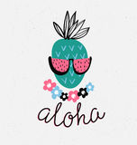 Hand drawn stylish typography lettering phrase on the grunge background - 'Aloha' and pineapple. Hand drawn stylish typography lettering phrase on the grunge Royalty Free Stock Photos