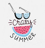 Hand drawn stylish typography lettering phrase on the grunge background - 'crazy summer'. Stock Image