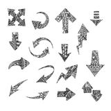Hand drawn stylized arrows vector collection. Set of doodle tribal pointers. Elements for vibrant greeting card and Royalty Free Stock Photography