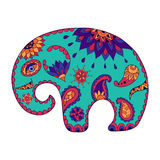 Hand drawn stylized baby cartoon elephant for adult anti stress colouring page. Colorful variant. stock illustration