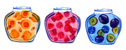 Hand drawn stylized illustration of three jars of fruit preserves royalty free illustration