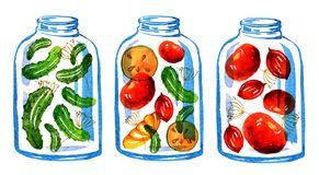 Hand drawn stylized illustration of three jars of vegetable preserves royalty free illustration