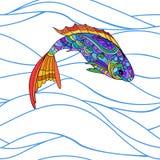 Hand drawn stylized sea fish, zen-doodle style seamless pattern Stock Photos