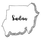 Hand drawn of Sudan map,  illustration Stock Photography