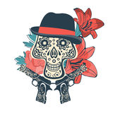 Hand drawn sugar skull with flowers and guns stock illustration