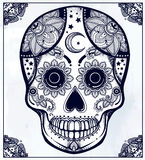Hand drawn  sugar skull in ornate frame. Stock Images