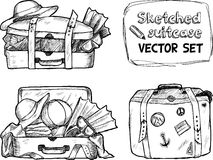 Hand-drawn suitcase sketches  set Stock Image