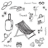 Hand drawn summer beach set Royalty Free Stock Photo