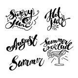 Hand drawn summer card. Letternig, text message isolated on white background. Hand written font, abc. Ink drawing. Collection of summer greeting Stock Photo