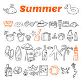 Hand drawn summer collection. Beach theme doodle set. Travel col. Lection. Summer time icons set. Vector illustration Royalty Free Stock Photos