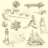 Hand drawn summer collection Stock Images