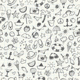 Hand-drawn Summer Doodles. Seamless Pattern. Stock Images