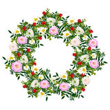 Hand  drawn summer elegant and romantic  flower wreath with pink dahlia, white chamomile Stock Photo
